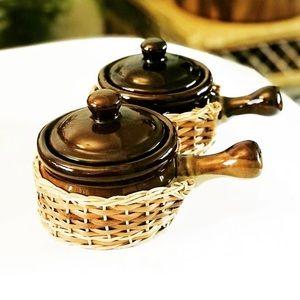 Vintage stoneware soup bowls
